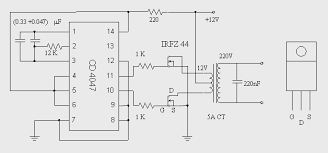 12 to 220 volts inverter circuit using 4047
