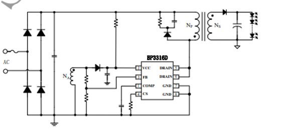 BP3316D APFC Offline LED Driver example circuit