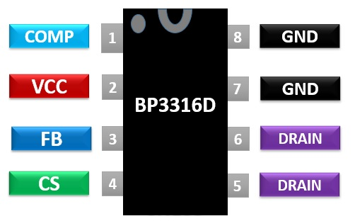 BP3316D pinout diagram APFC Offline LED Driver