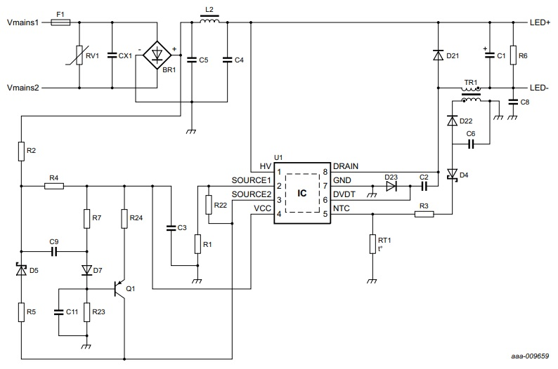 Buck driver circuit for LED using SSL5015TE with high power factor feature