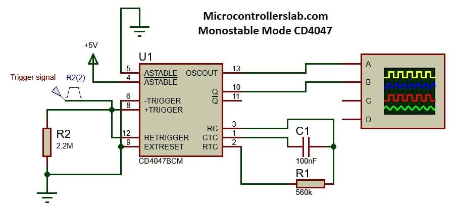 CD4047 in monostable multivibrator mode example