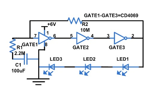 CD4049 Based LED torch example