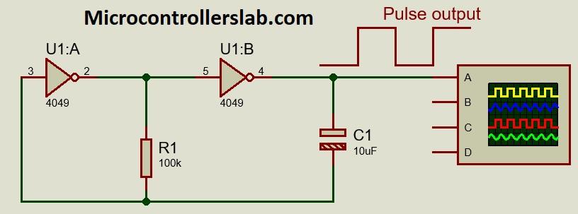 CD4049 pulse generating circuit example