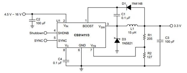 CS51411 Buck Regulator Example Circuit