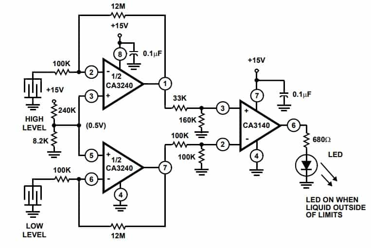 Dual level Detector Circuit Example using CA3240 op amp