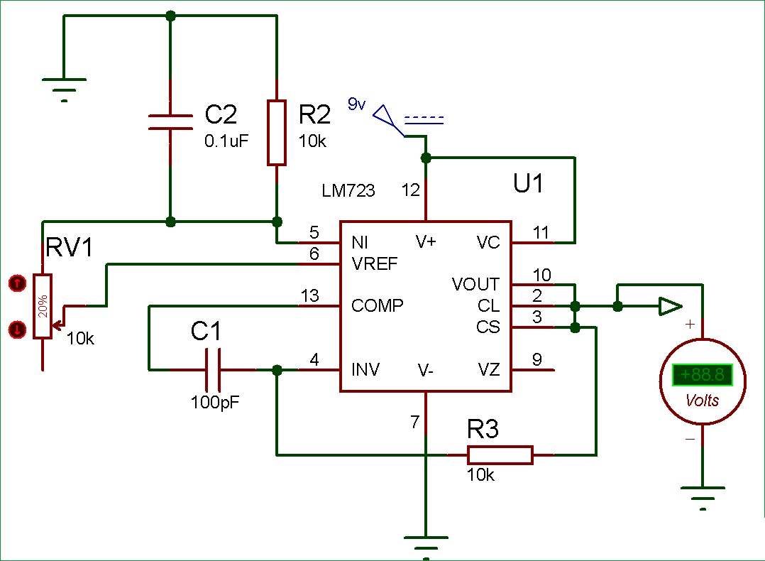 Fixed voltage power supply using LM723