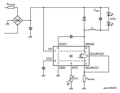 LED driver circuit example using SSL5015TE