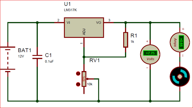 LM317 Proteus simulation Circuit Example