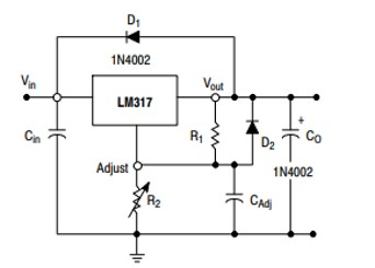 LM317 application circuit with protection circuit