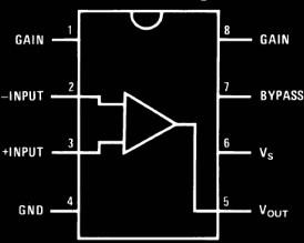 LM386 Pinout diagram