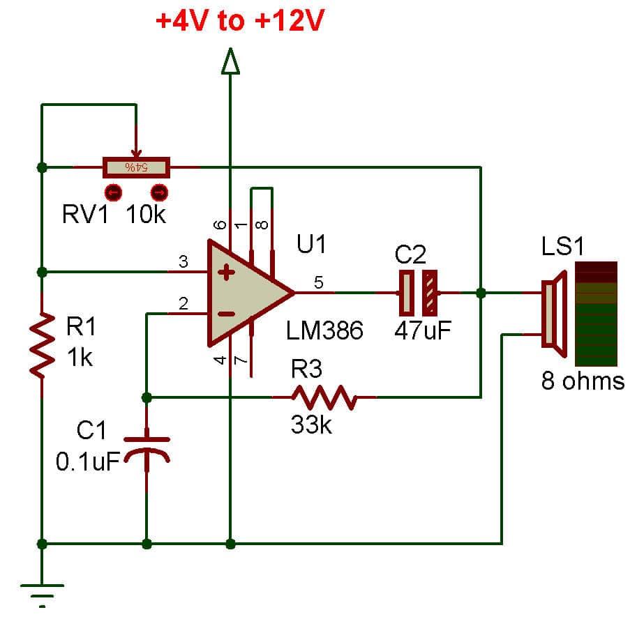 LM386 square wave oscillator circuit