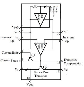 LM723C Variable Voltage Regulator internal block diagram