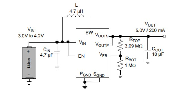 MCP16252 synchronous boost regulator example circuit
