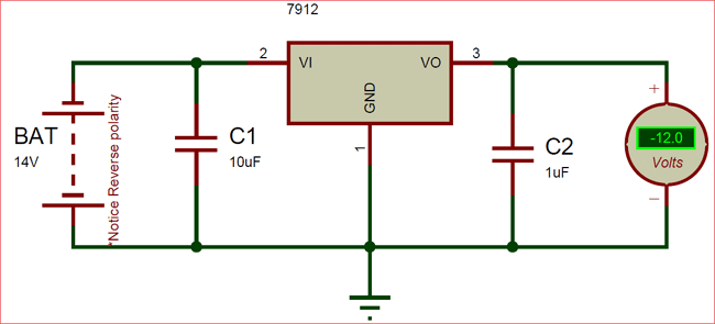 Negative -12 voltage regulator using LM7912