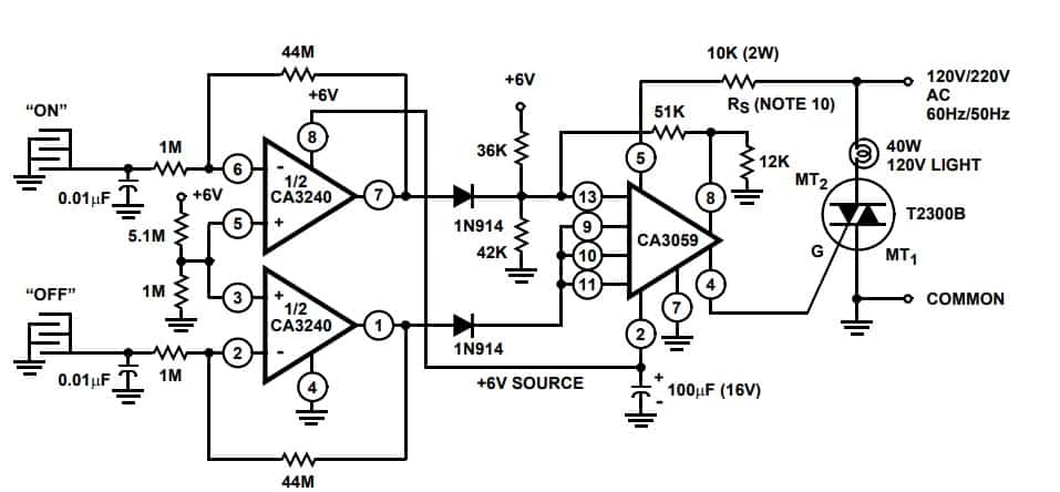On OFF switch CA3240A op amp