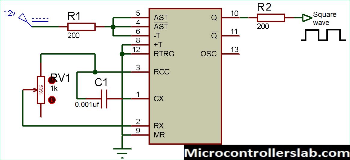 Sqaure wave generator using cd4047 IC