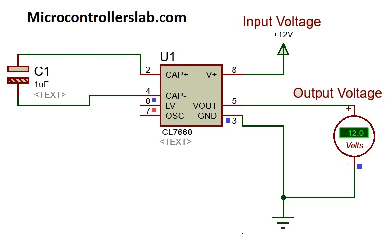 TC7660 -12 volts supply example circuit with proteus simulation