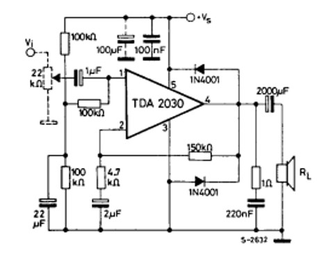 TDA2030 audio amplifier example circuit