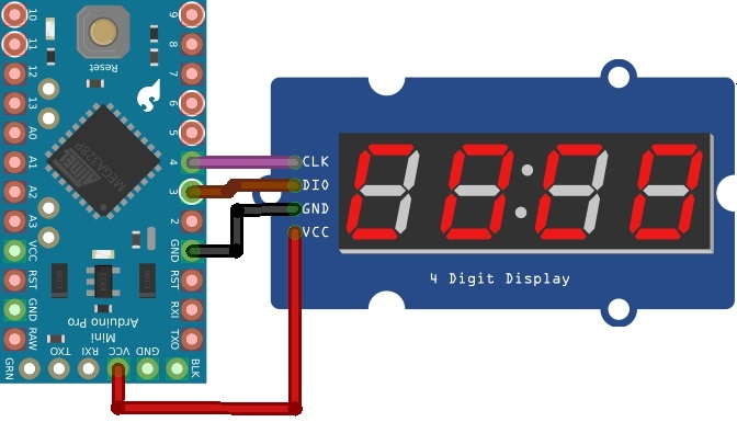 TM1637 Grove 4 Digit Display Module with Arduino Mini