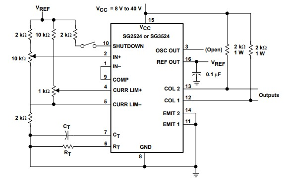 sg2524 PWM controller ic example circuit