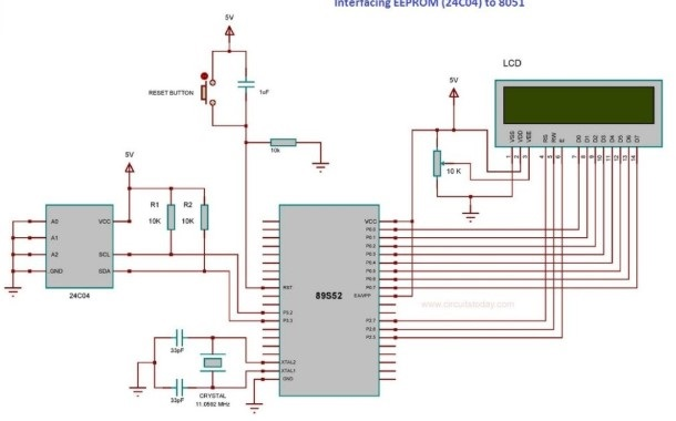 24C04 EEPROM Interfacing with microcontroller