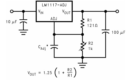 Adjustable Voltage Regulator using LM1117