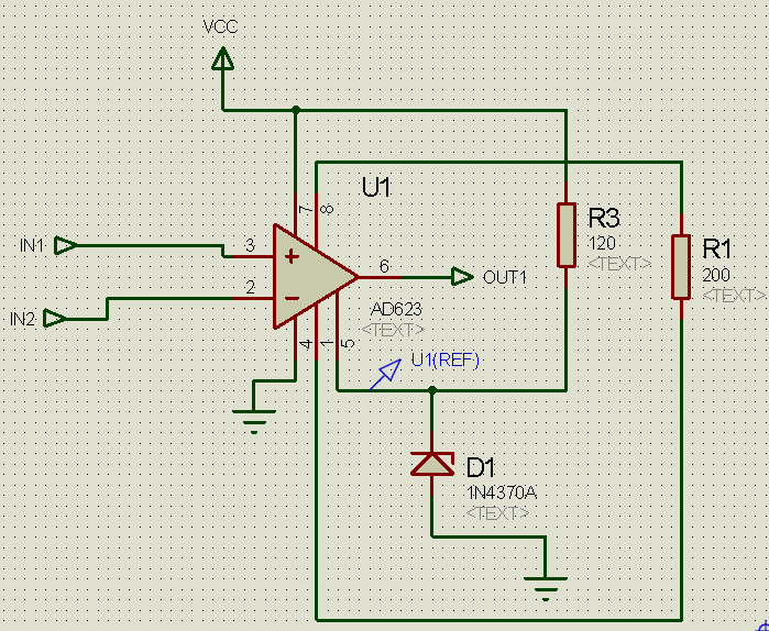 Differential amplification with the AD623