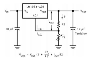 LM1084 adjustable voltage power supply circuit example