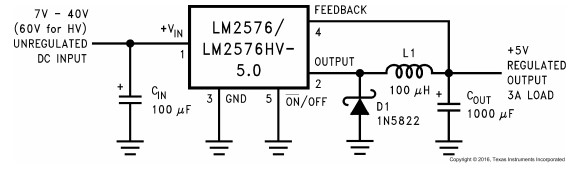 LM2576 Fixed 5 volt power supply circuit example