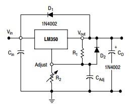 LM350T Adjustable voltage regulator example circuit