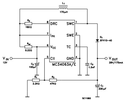 MC34063A Boost Step up Converter Example Circuit