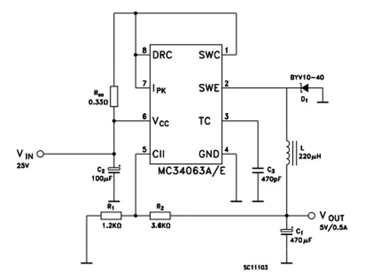 MC34063A Buck Step down Converter Example Circuit