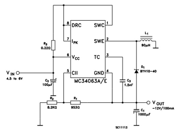 Voltage Inverting operation Example Circuit