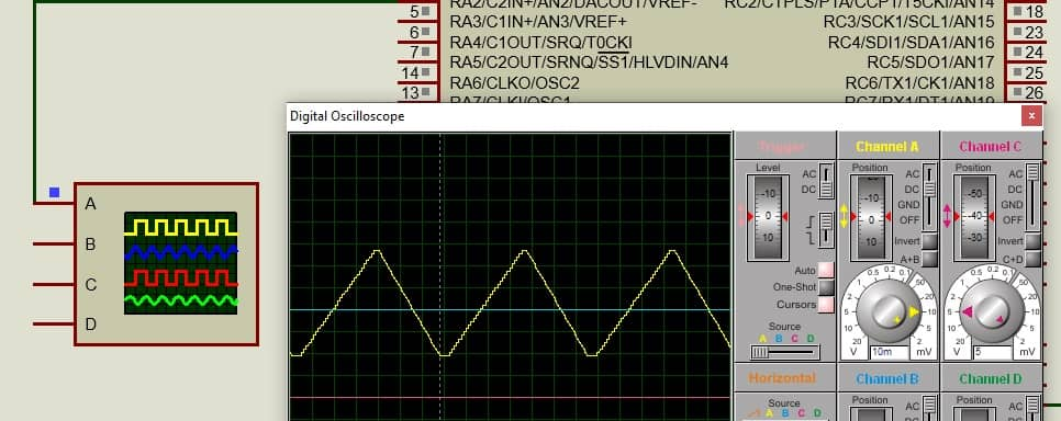 PIC Microcontroller DAC to generate triangular waveform simulation result