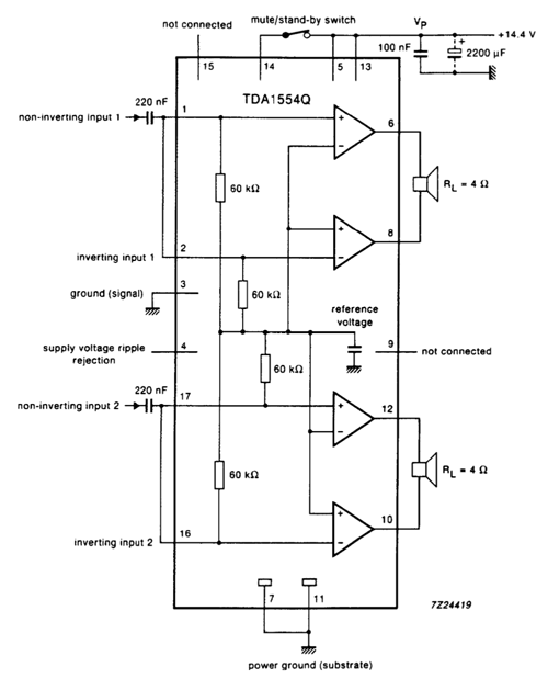 TDA1554 BTL Mode Circuit Example