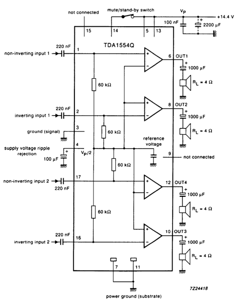 TDA1554 Single Ended Mode Circuit Example