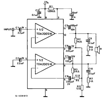 TDA2005 Stereo Amplifier Circuit Example