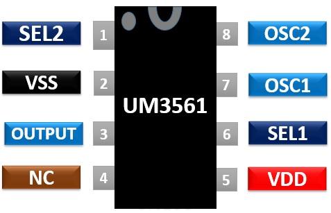 UM3561 Pinout Diagram sound generator IC