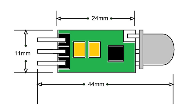 hc-sr505 pir motion sensor 2d diagram
