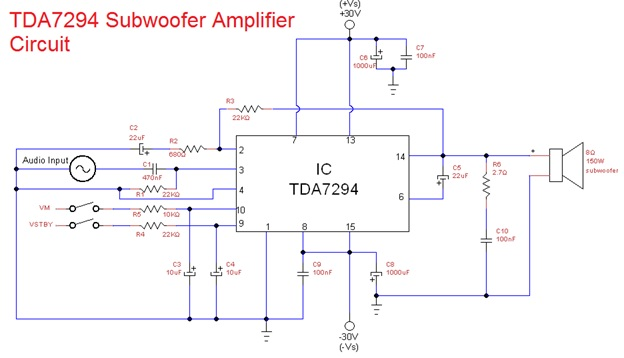 subwoofer amplifier circuit designed using TDA7294 IC