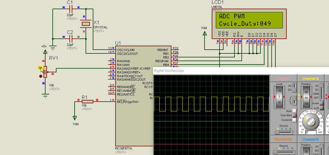 use adc to control PWM using pic microcontroller
