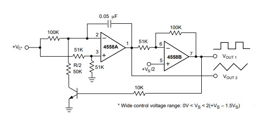 voltage controlled oscillator example circuit using rc4558