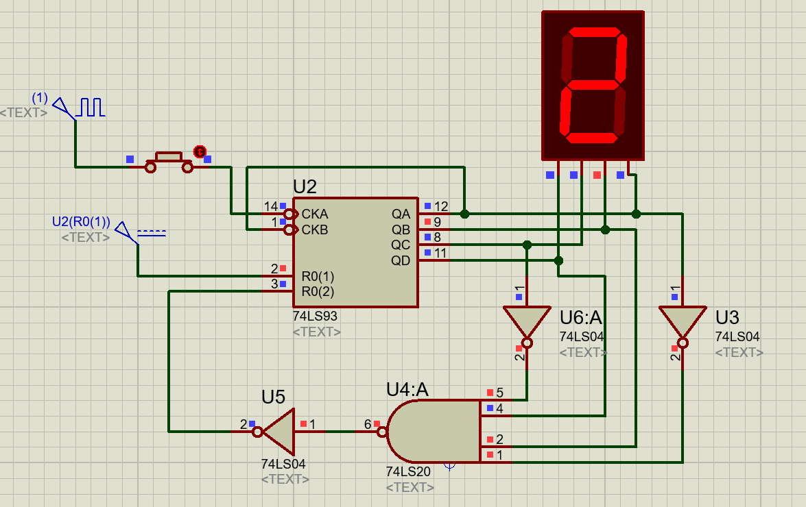 74LS93 counter example with seven segment display from 0-9