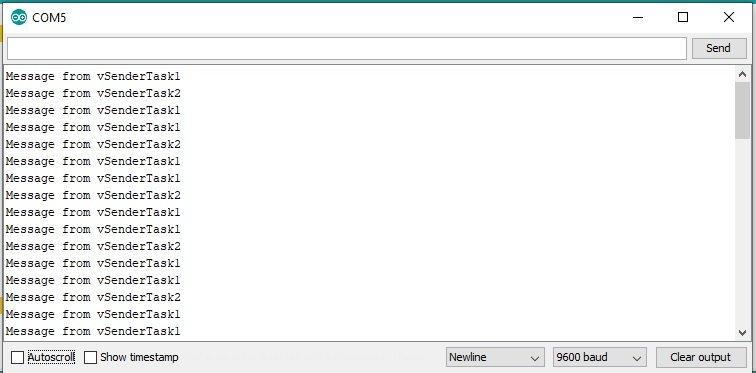 FreeRTOS queue set with Arduino output result