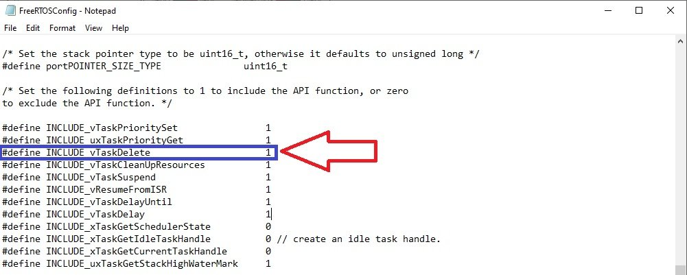 FreeRTOS vTaskDelete API function configuration