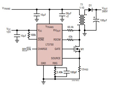 LT3750 application example circuit flyback capacitor