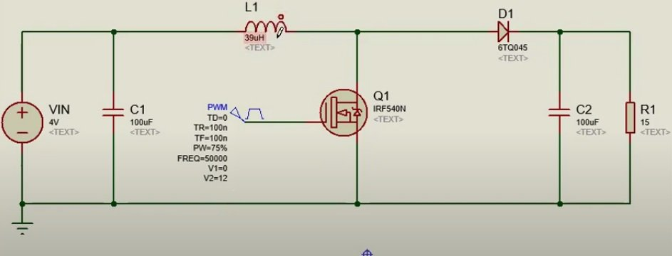 Boost Converter Proteus Simulation Circuit