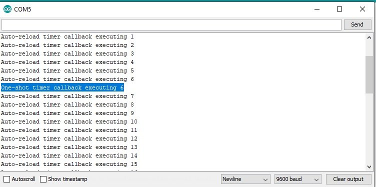 FreeRTOS software timers output for one shot and auto reload timers with Arduino