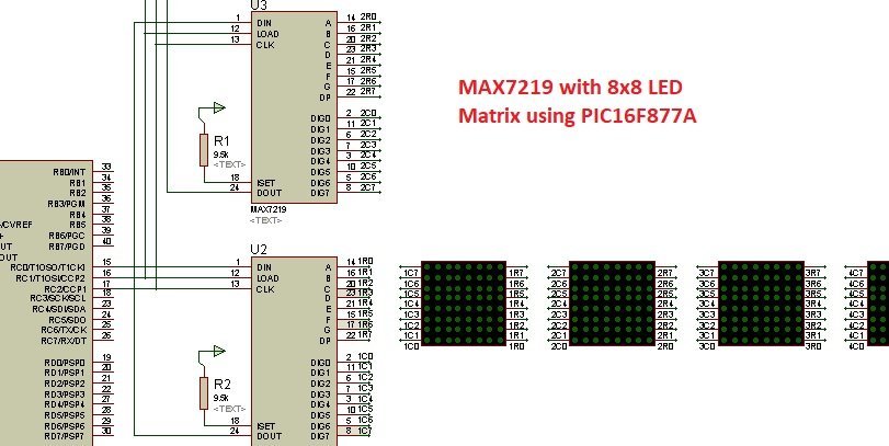 8x8 LED matrix interfacing with MAX7219 and Pic Microcontroller