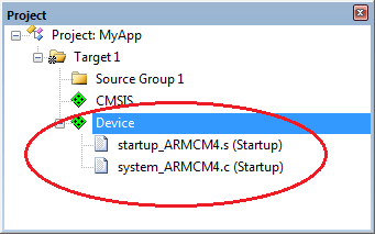 Microcontrollers startup file